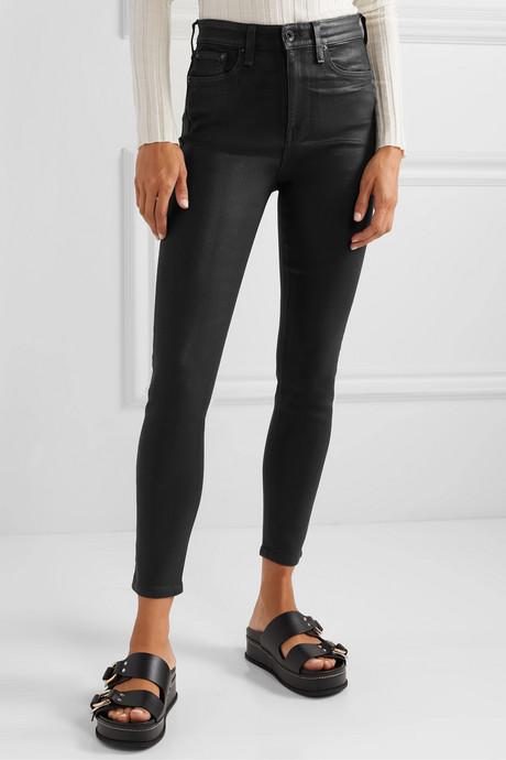 Nina coated high-rise skinny jeans