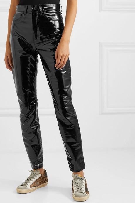 Cropped vinyl slim-leg pants