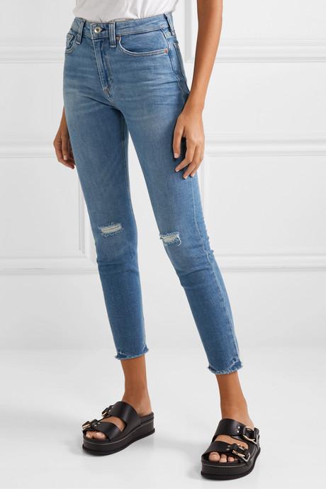 Nina distressed high-rise skinny jeans