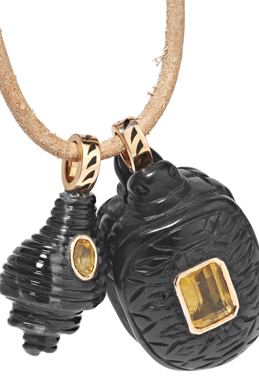 Dezso by Sara Beltrán Leather multi-stone necklace
