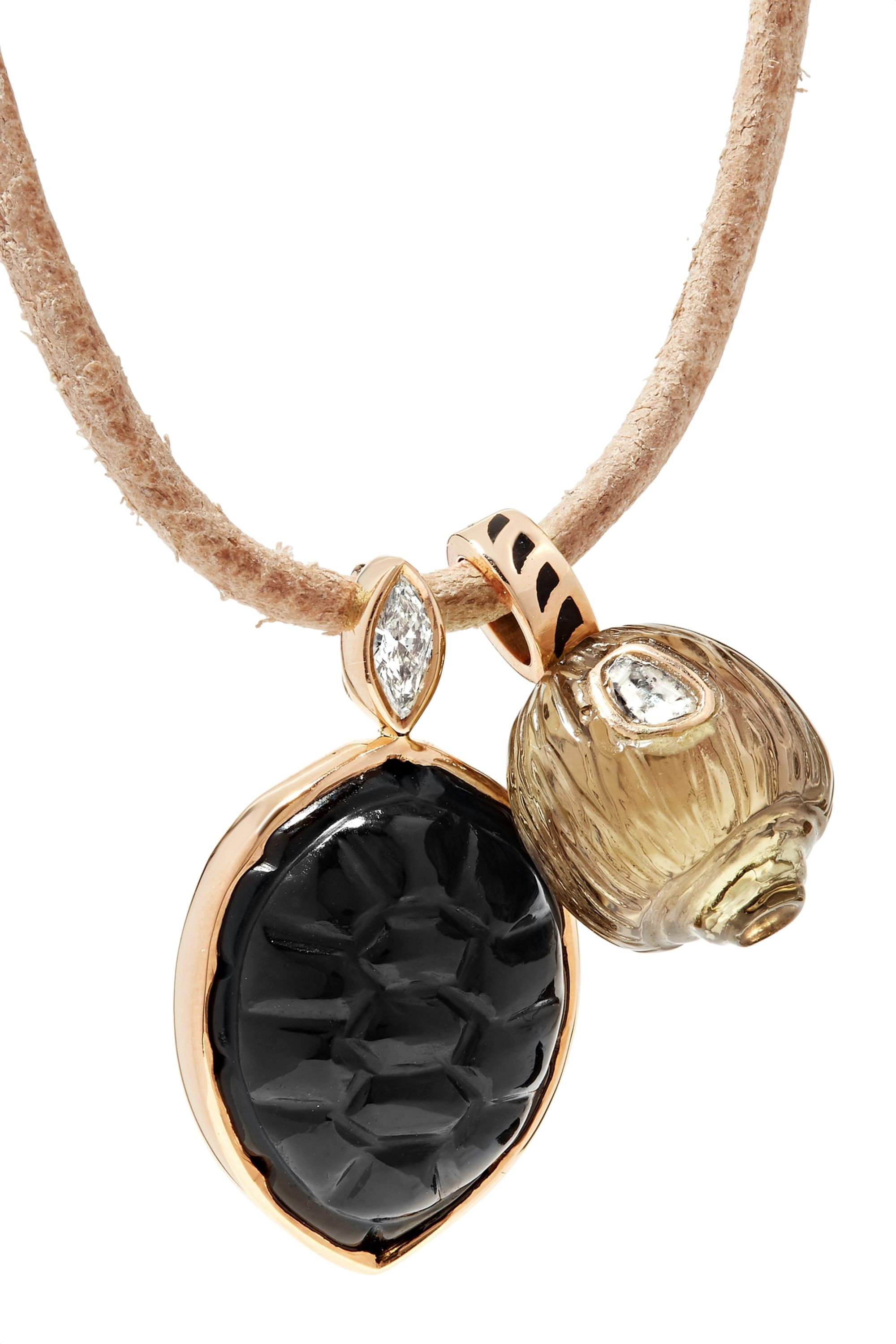 Dezso by Sara Beltrán Leather and 18-karat rose gold multi-stone necklace