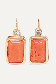 18-karat rose gold, coral and diamond earrings