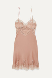 Carine Gilson Egérie Chantilly lace-trimmed silk-satin nightdress