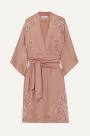 Egérie Chantilly lace-trimmed silk-satin robe