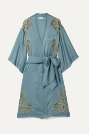 Chantilly lace-trimmed silk-satin kimono