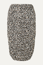 Norma Kamali Ruched leopard-print stretch-jersey skirt