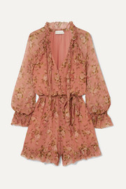 Espionage Frilled floral-print silk-crepon playsuit