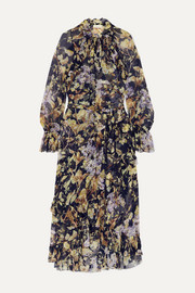 Sabotage ruffled floral-print crepon midi dress