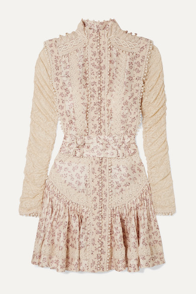 Sabotage Crochet Trimmed Floral Print Silk Georgette And Lace Mini Dress by Zimmermann