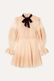 Zimmermann Mini-robe en dentelle cordonnet et en tulle point d'esprit Espionage