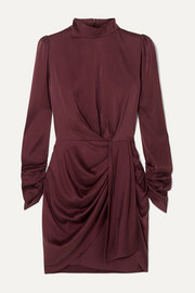 Draped silk-blend mini dress