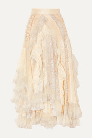 Zimmermann Sabotage asymmetric ruffled metallic lace, tulle and crepe skirt