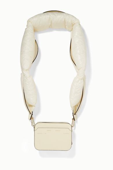 Moncler Genius Shoulder + 2 Moncler 1952 Valextra Dado shell down and leather shoulder bag