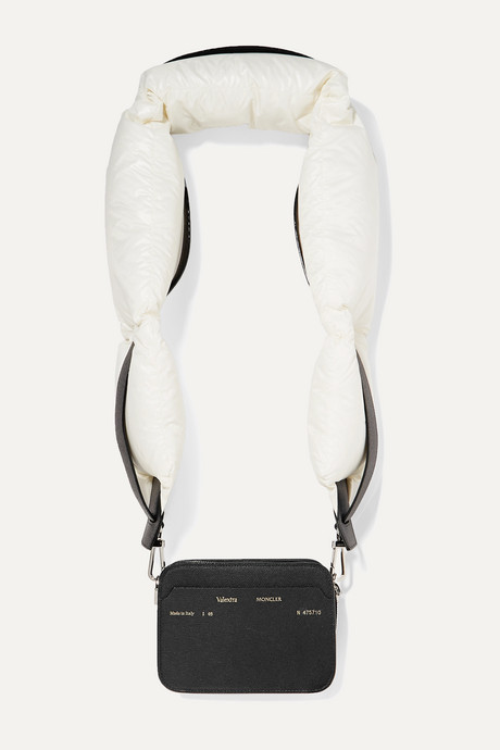 Black + 2 Moncler 1952 Valextra Dado shell down and leather shoulder bag | Moncler Genius 4CVkHX