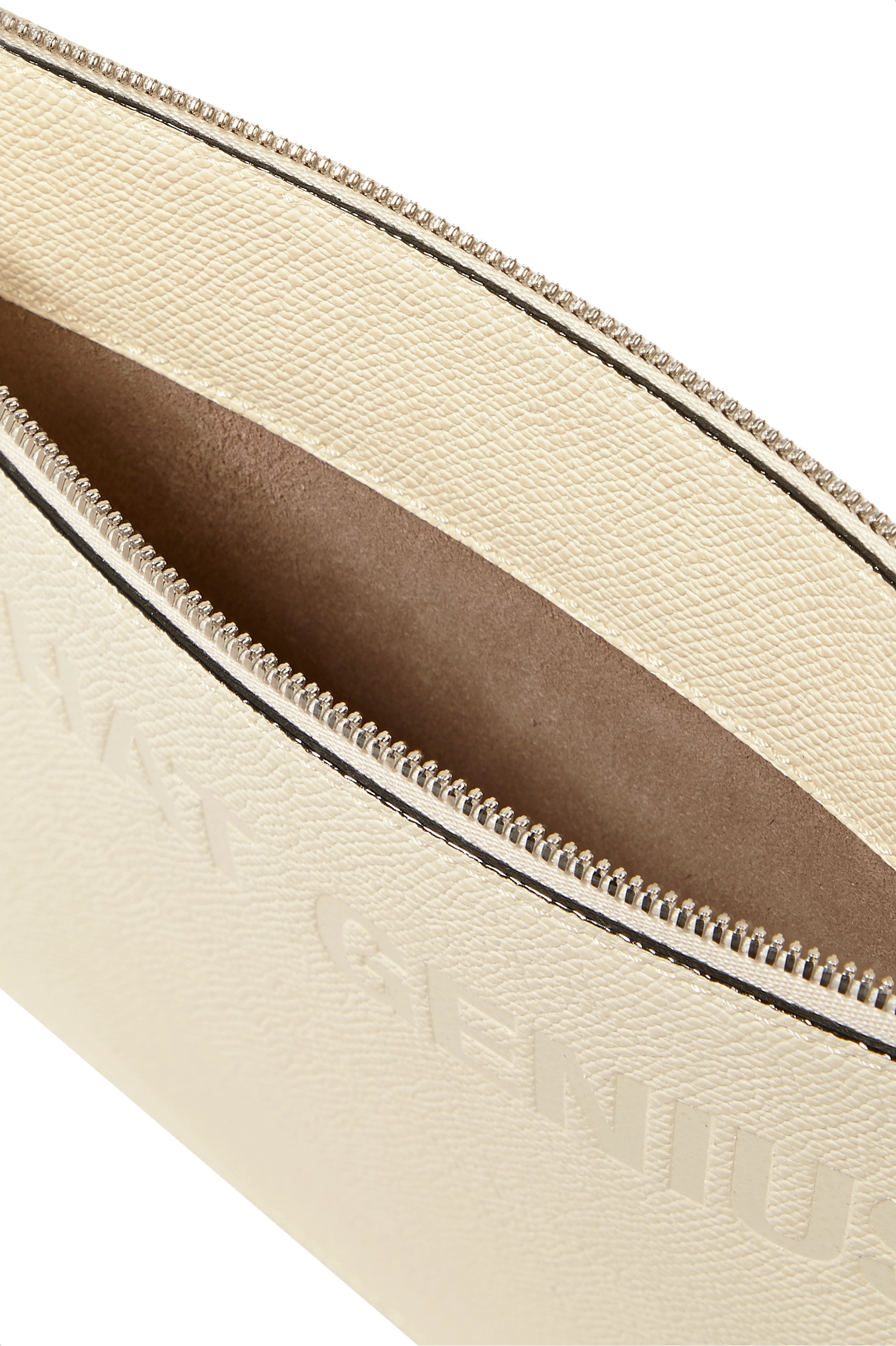 Moncler Genius + 2 Moncler 1952 Valextra debossed two-tone textured-leather clutch