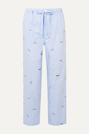Marina embroidered cotton-poplin pajama pants