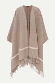 Twelve fringed striped cashmere cape