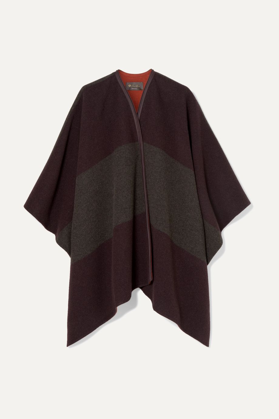 Loro Piana Mantella Esme leather-trimmed striped cashmere cape