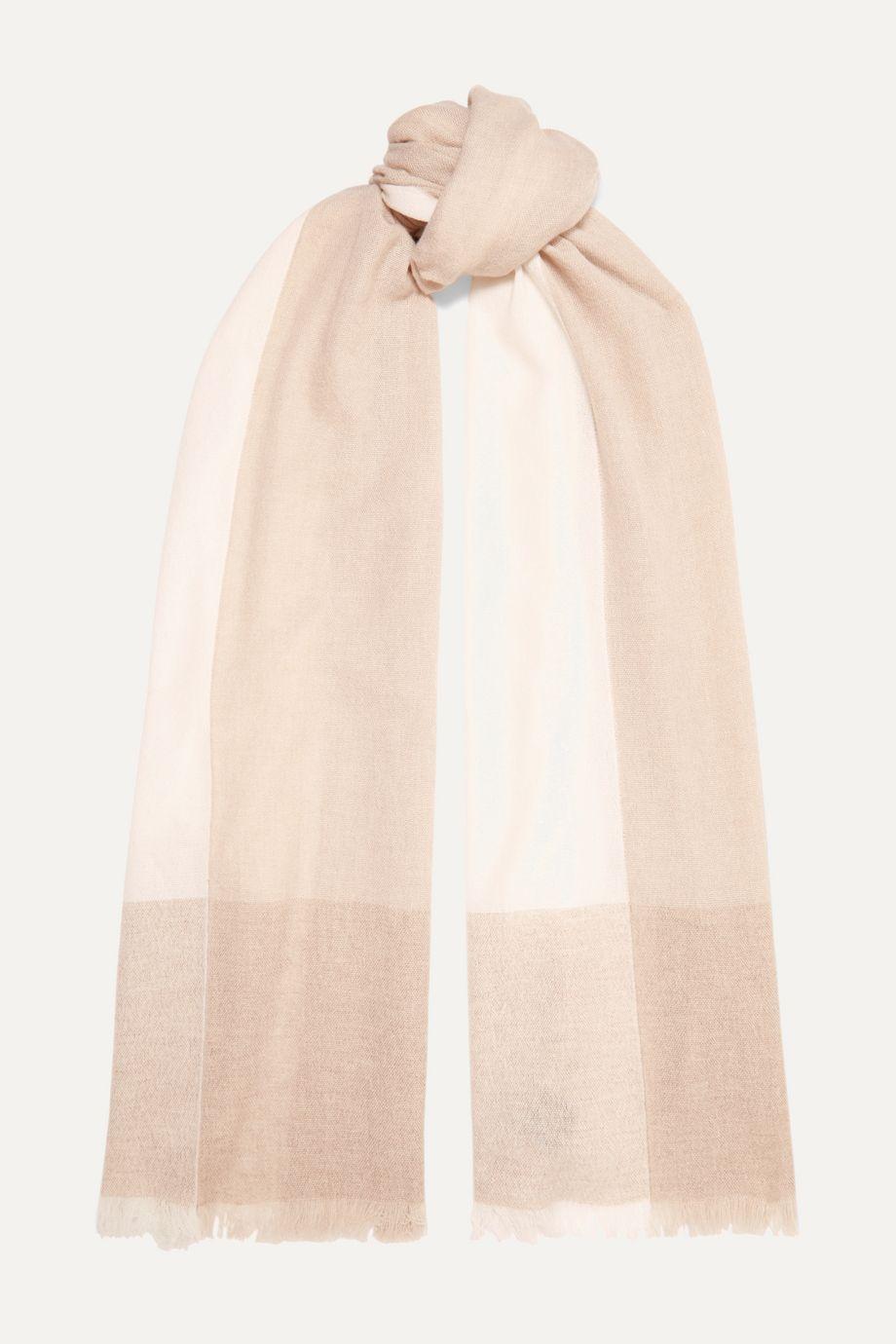 Loro Piana Stola fringed color-block cashmere scarf