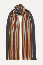Loro Piana Striped fringed cashmere scarf