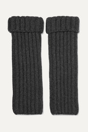 Ribbed cashmere wrist warmers