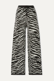 Daphne zebra-print wool and cashmere-blend straight-leg pants