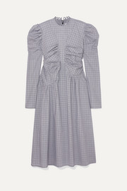 Gathered checked cotton midi dress