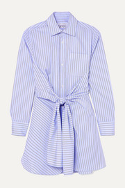 Wright Le Chapelain Knotted striped organic cotton-poplin shirt