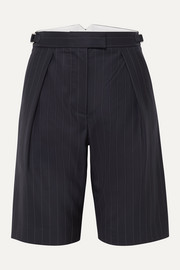 Wright Le Chapelain Pinstriped wool shorts
