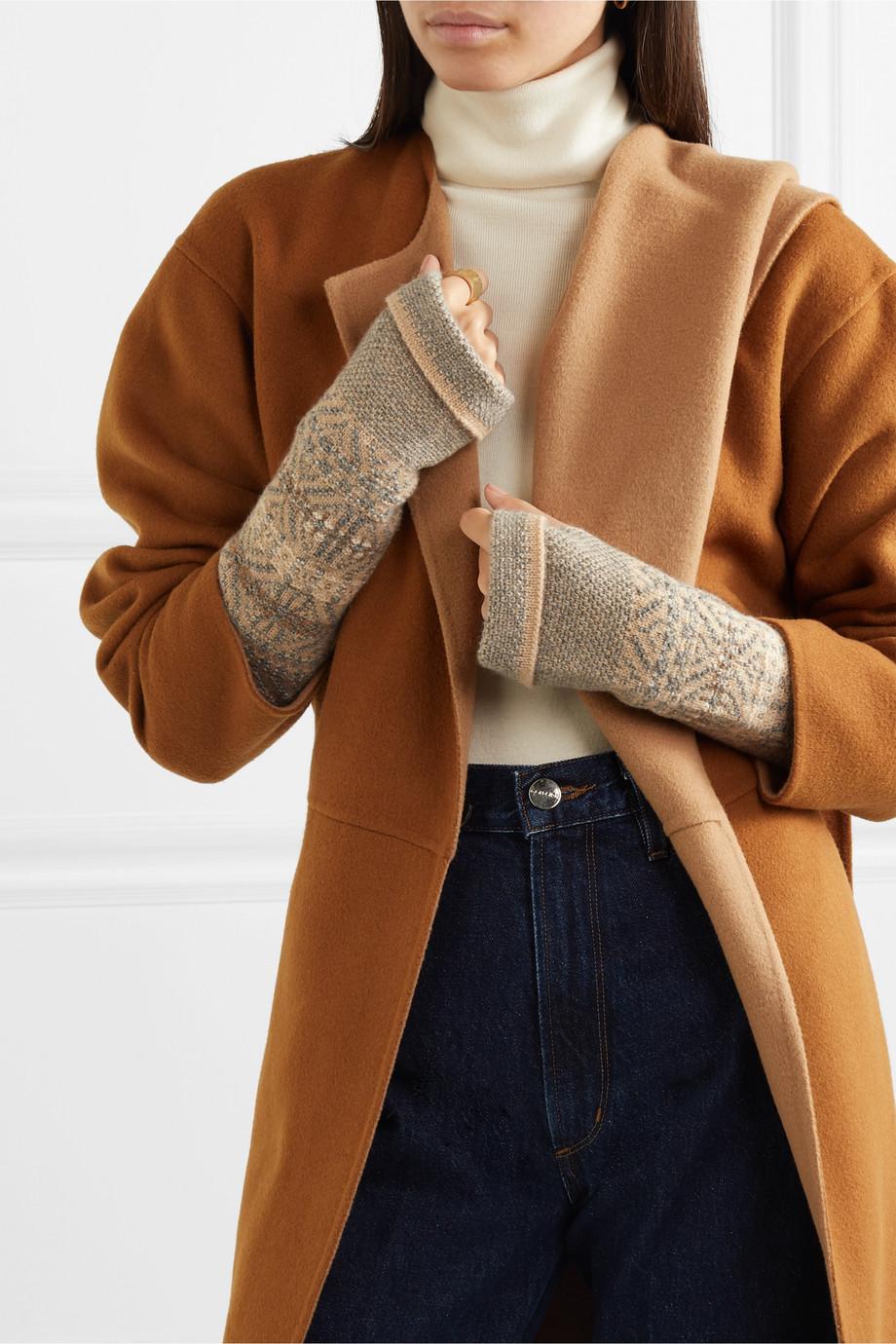 Loro Piana Fair Isle cashmere wrist warmers