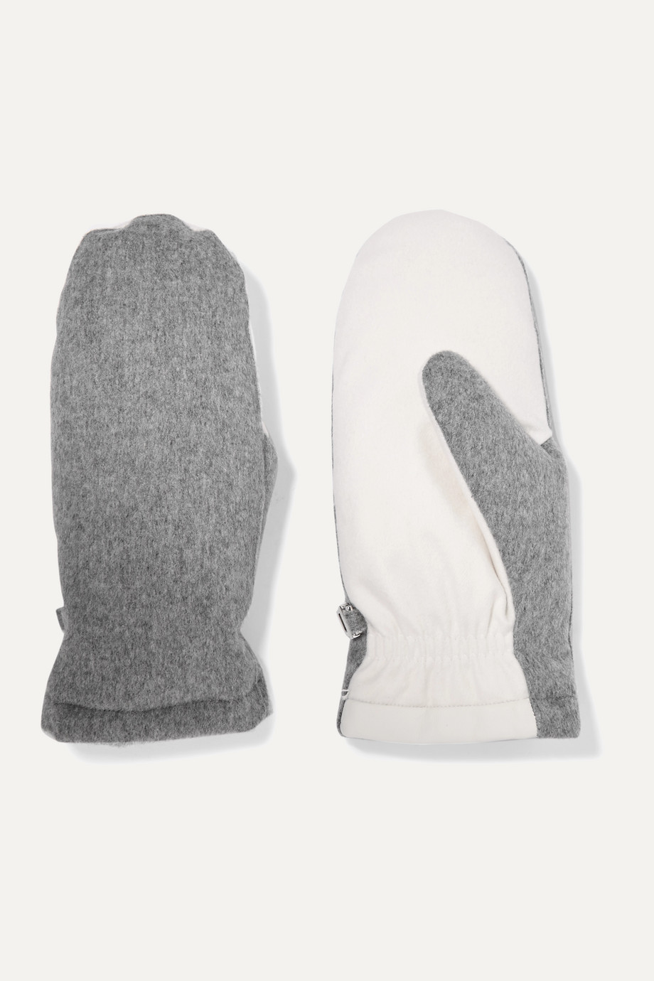 Loro Piana Two-tone brushed-cashmere mittens