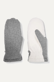 Two-tone brushed-cashmere mittens