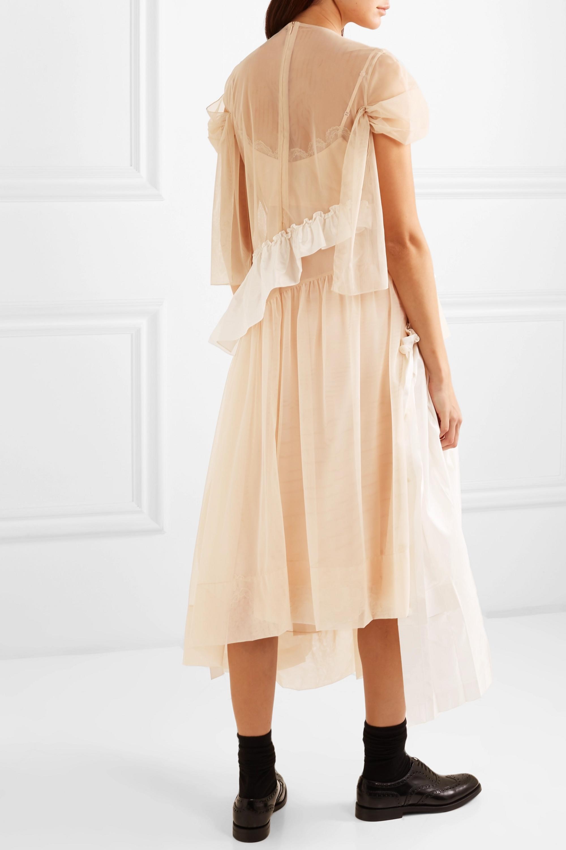 Simone Rocha Embellished ruffled tulle and satin midi dress