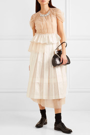 Embellished ruffled tulle and satin midi dress
