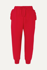 Ruffled stretch-jersey track pants