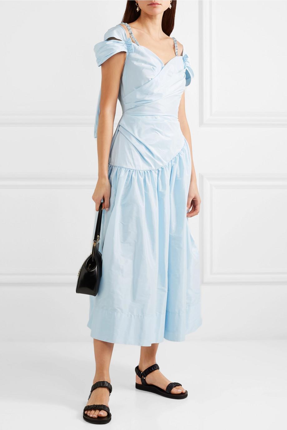 Simone Rocha Embellished ruched taffeta dress