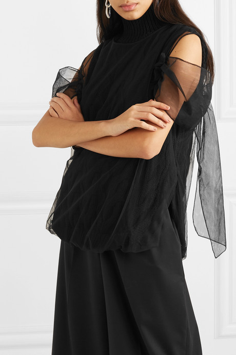 Layered cable-knit wool and tulle top