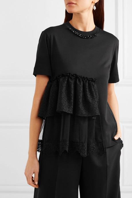 Embellished ruffled lace and tulle-trimmed cotton-jersey T-shirt