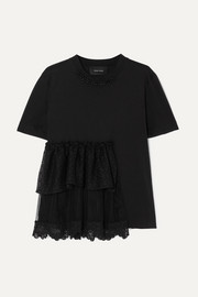 Simone Rocha Embellished ruffled lace and tulle-trimmed cotton-jersey T-shirt