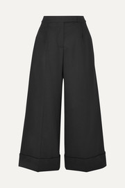 Simone Rocha Cropped ruffle-trimmed cotton-twill wide-leg pants