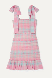 Belle smocked tiered checked cotton-voile mini dress