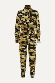 Norma Kamali Turtle camouflage-print stretch-jersey jumpsuit