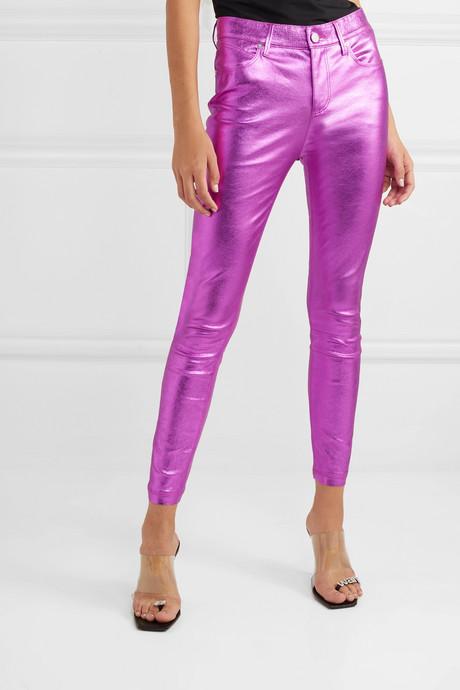 Madrid metallic textured-leather slim-leg pants