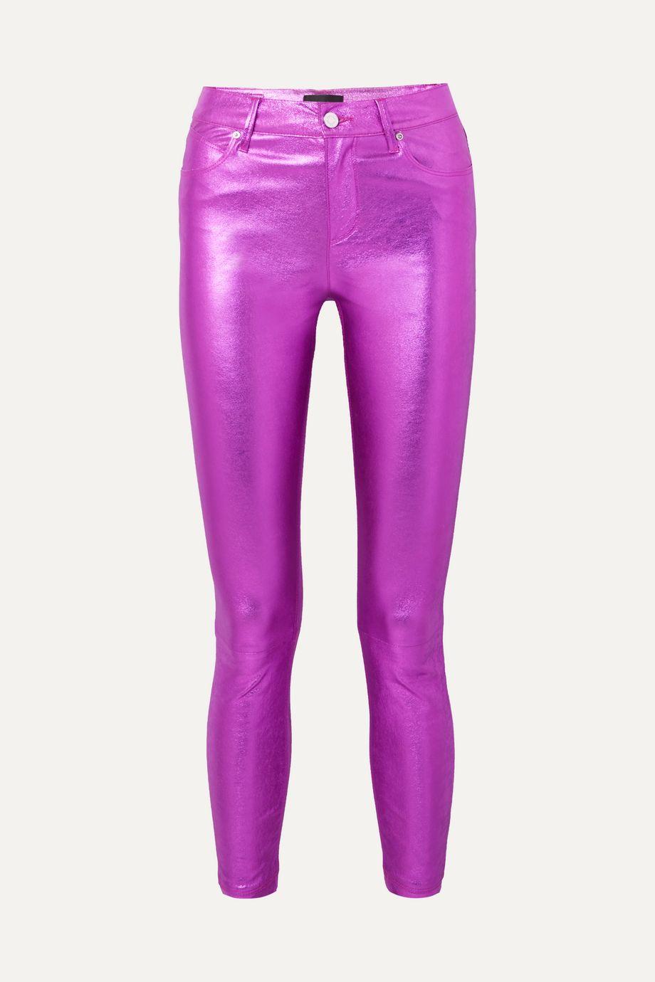RtA Madrid metallic textured-leather slim-leg pants