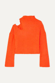 Forero neon cutout ribbed-knit turtleneck sweater