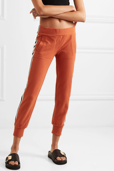 Striped stretch-cotton jersey track pants
