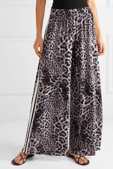 Elephant striped leopard-print stretch-jersey wide-leg pants