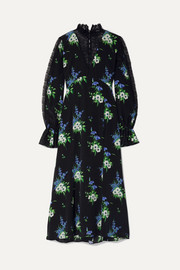 Lace-paneled floral-print silk crepe de chine midi dress