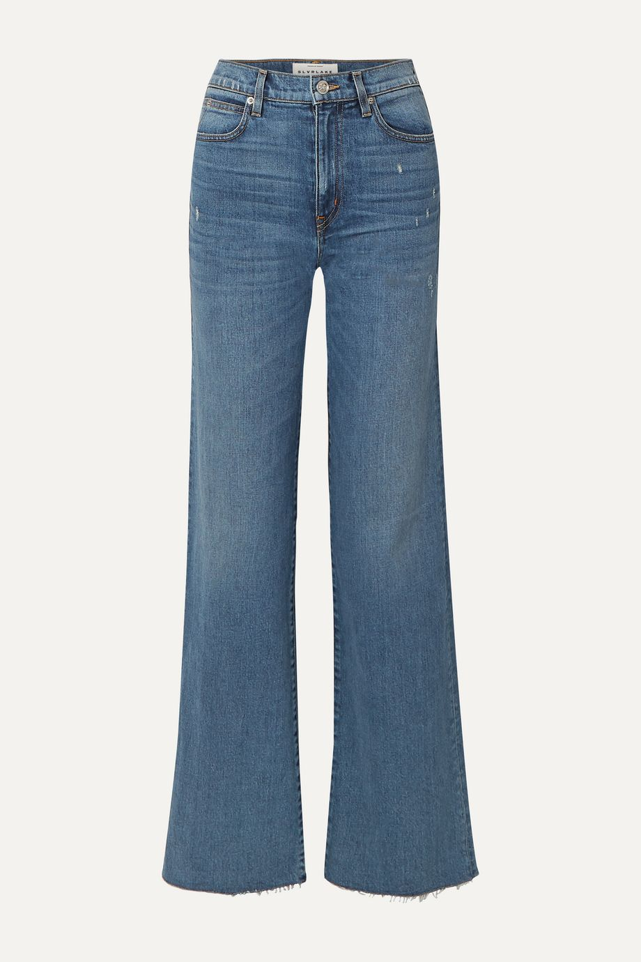 SLVRLAKE Grace distressed high-rise wide-leg jeans