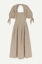 + NET SUSTAIN Kalilah Tencel Lyocell and linen-blend midi dress